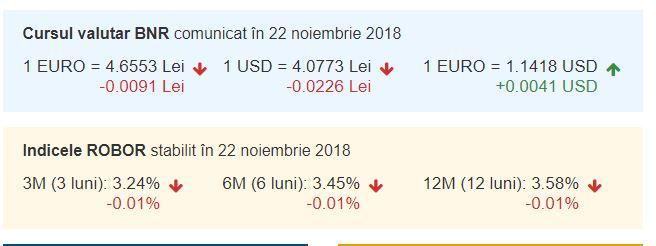 curs valutar azi 22 noiembrie 2018