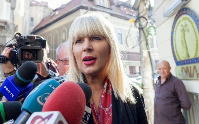 Elena Udrea acordând un interviu jurnaliştilor din România