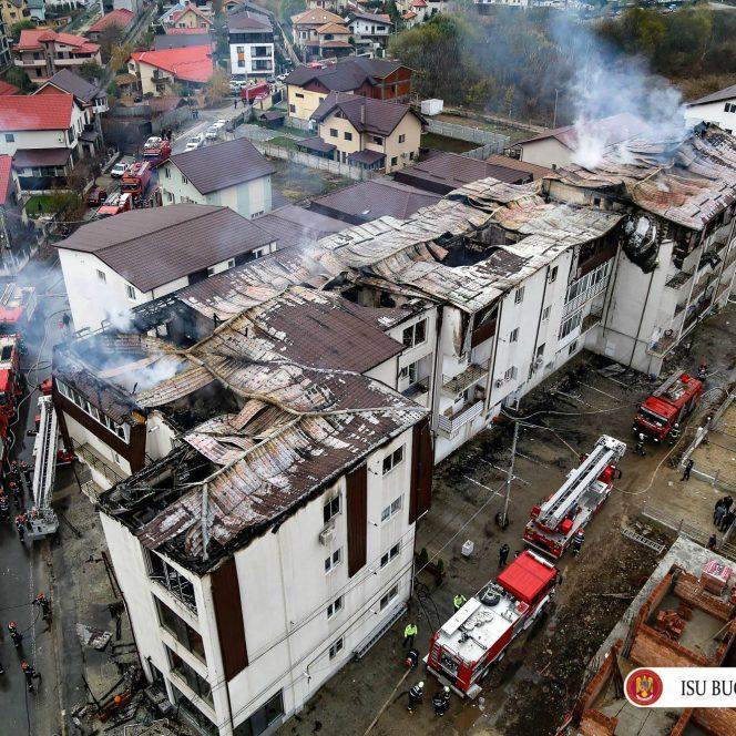 Aşa arată blocurile afectate de incendiu din Chiajna, filmate cu drona
