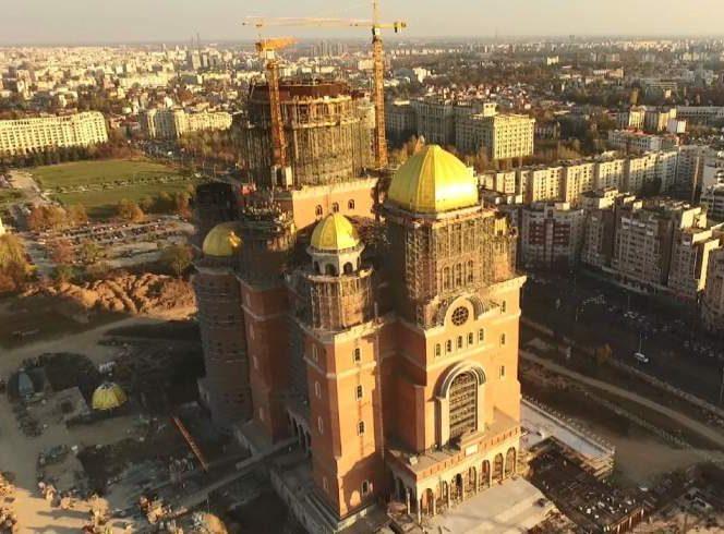 Imagine realizată din dronă cu Catedrala Mântuirii Neamului, înainte de sfinţire, organizată duminică