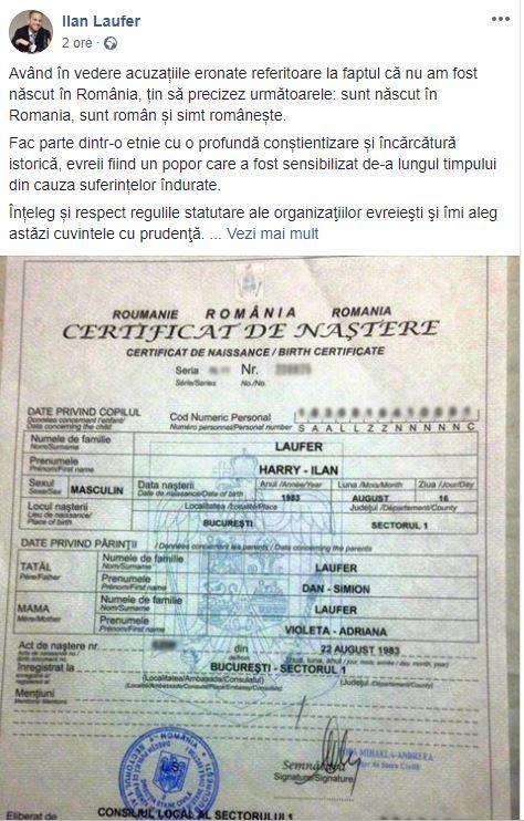 ilan laufer sia- publicat certificatul de nastere