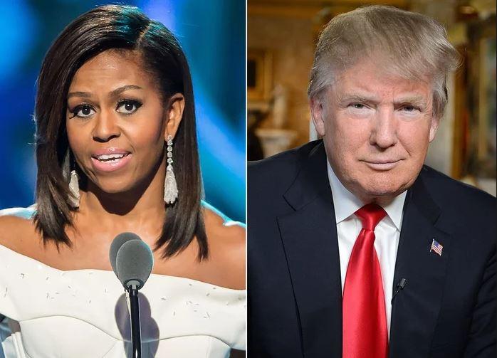 În fotografie se află Michelle Obama, alături de Trump