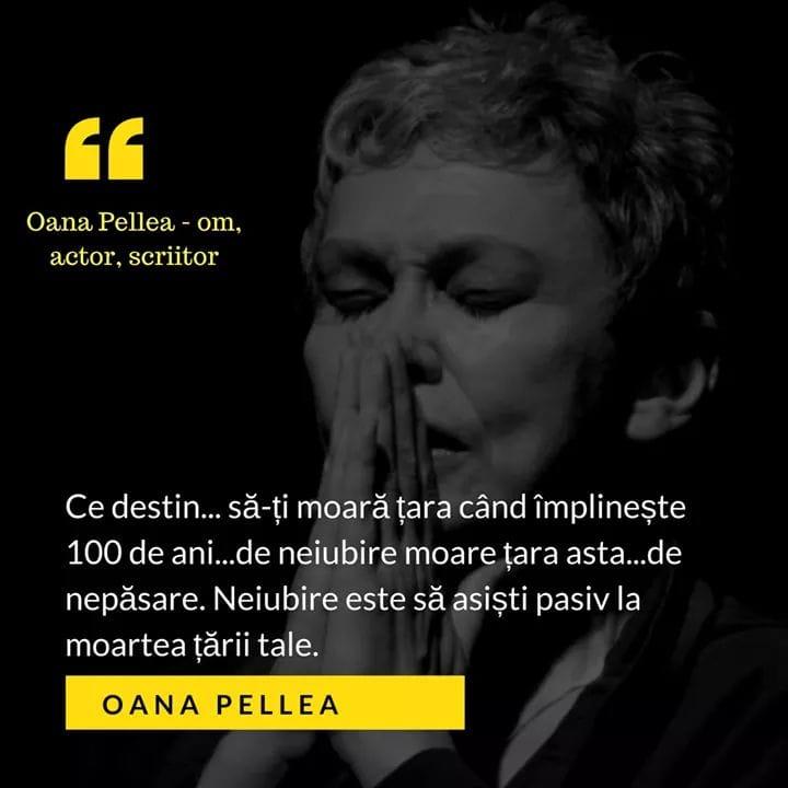 Oana Pellea este foarte deprimată de starea României la centenar și de pasivitatea românilor. Se gândește să plece din țară!