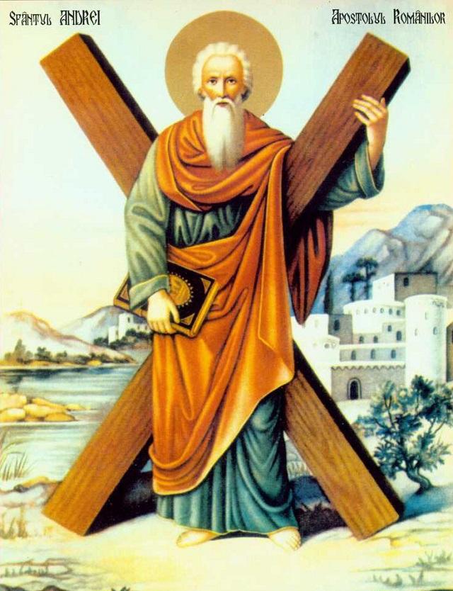 Sfântul Andrei a sfârșit viața pământească crucificat cu capul în jos, la Patras, în Grecia, în anul 60