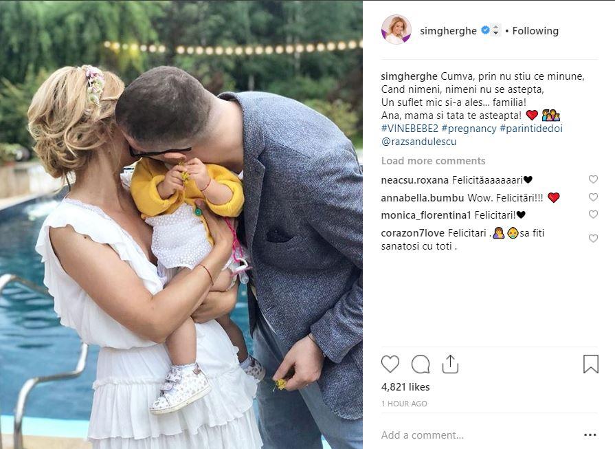 Anunţul făcut de Simona Gherghe, pe pagina sa personala de Instagram. Fotografie cu fetita sa, Ana si Razvan