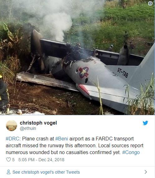 Accident aviatic pe un aeroport din Congo!