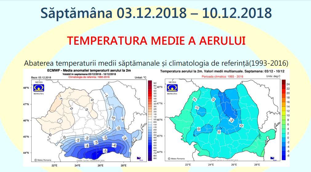 Temperaturile din prima săptămână a lunii decembrie