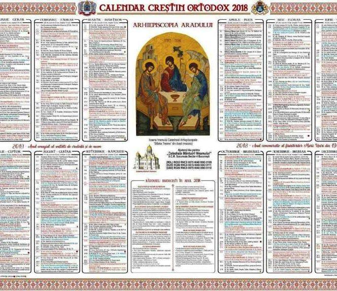 Calendarul ortodox pe 2018