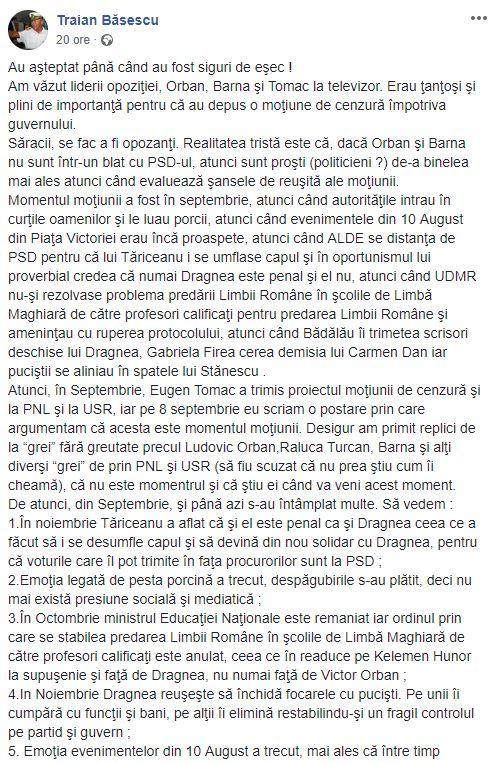 Traian Băsescu, mesaj pentru opoziție de pe un site de socializare!