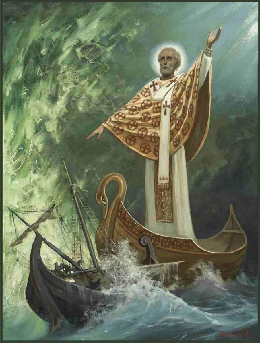 Sfântul Nicolae a săvârșit multe salvări pe mare, fiind protectorul marinarilor și călătorilor