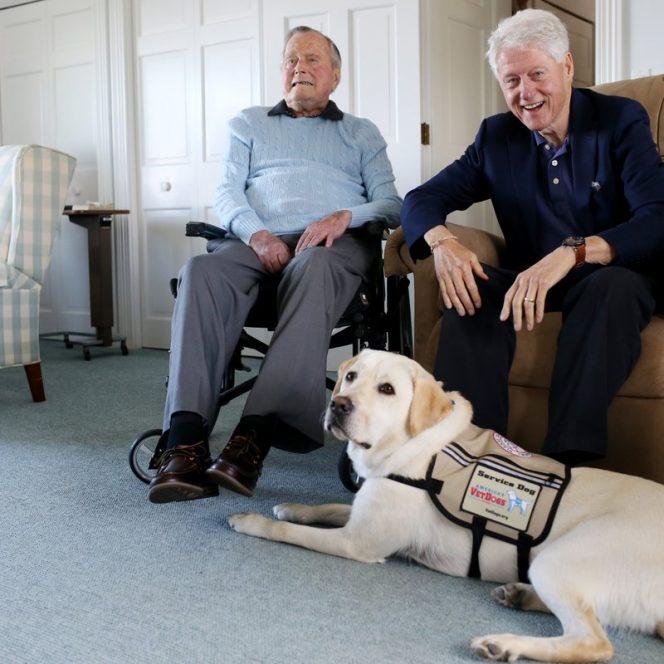 George Bush alături de câinele său, Sully