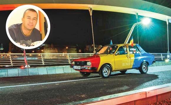 Aceasta este mașina pictată în culorile drapelului României