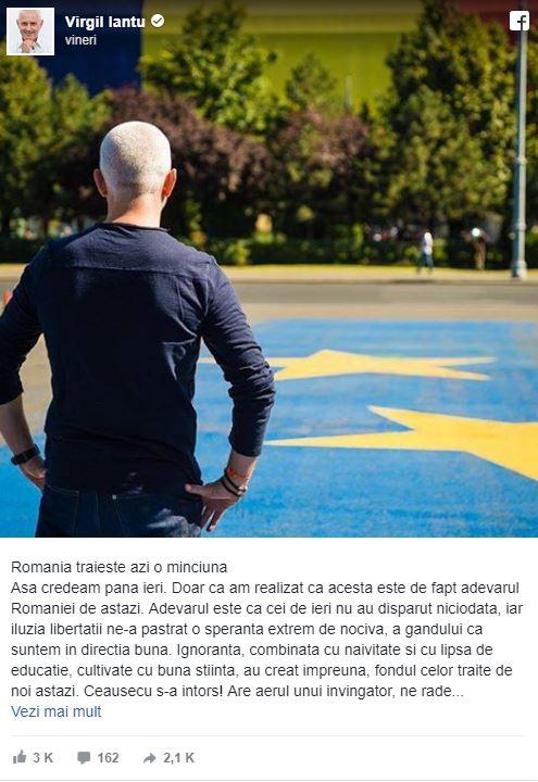 """Virgil Ianțu, despre România:""""Țara nu mai este a noastră"""""""