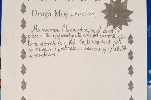 """Scrisoare sfâșietoare către Moș Crăciun: """"Mă numesc Andreea și vreau o pungă de pufuleți"""""""