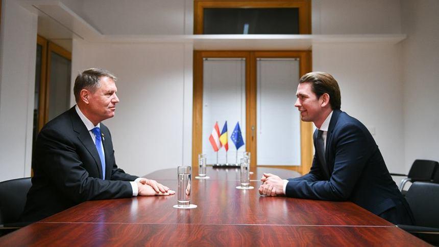 Sebastian Kurz, cancelarul Austriei, alături de Klaus Iohannis