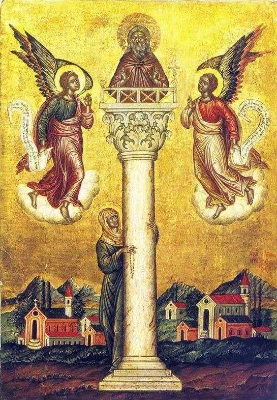 Părintele Daniel Stâlpnicul pe stâlp, unde se ruga