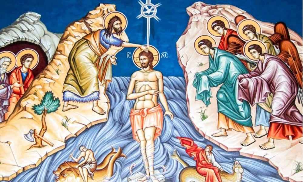 La botezul Mântuitorului Iisus Hristos s-a arătat lumii pentru pentru întâia dată Sfânta Treime:: glasul Tatălui s-a făcut auzit din Ceruri, Fiul a fost botezat în râul Iordanului, iar Sfântul Duh s-a pogorât asupra Lui în chip de porumbel