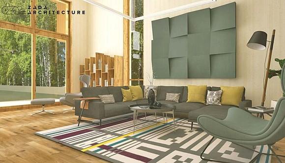Casa are 170 de metri pătrați și este mobilată în stil minimalist
