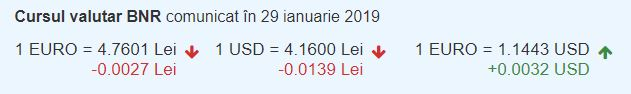 Curs valutar BNR pentru Euro