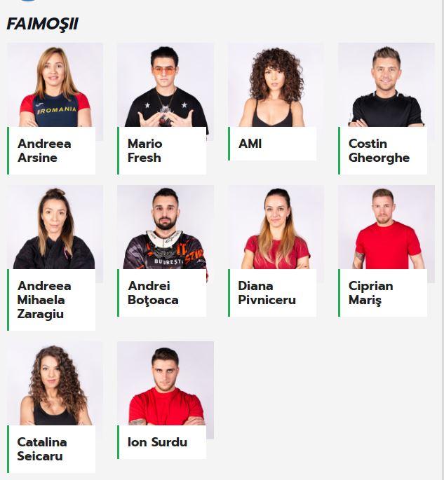 Ei sunt cei 10 concurenţi din echipa Faimoşilor
