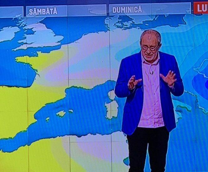 Florin Busuioc, în timp ce prezenta rubrica Meteo în cadrul Ştirilor de la PRO TV