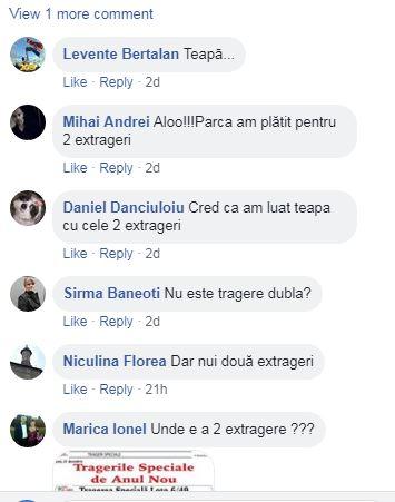 Mesajele apărute pe pagina de Facebook a Loteriei Române