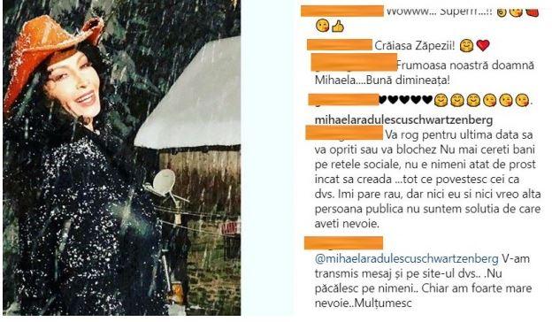 Mihaela Rădulescu, reacție nervoasă, după ce un fan i-a cerut bani pe internet. FOTO