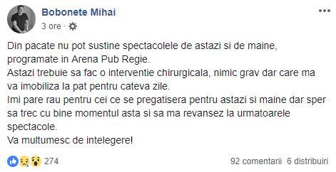 Mesajul postat de Mihai Bobonete. Sursă Facebook