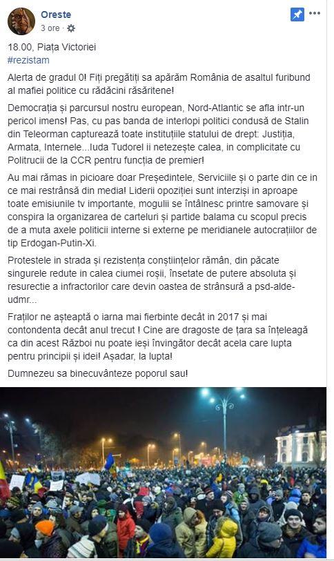 Mesajul postat de Oreste pe Facebook