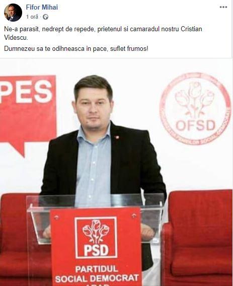 Mesajul Postat pe Facebook de Mihai Fifor