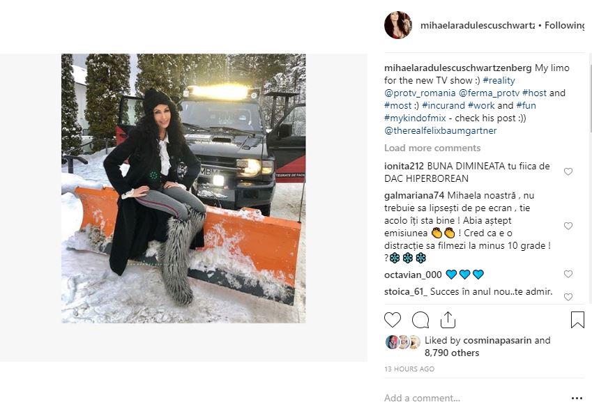 Mesajul postat de Mihaela Rădulescu pe contul său de Instagram