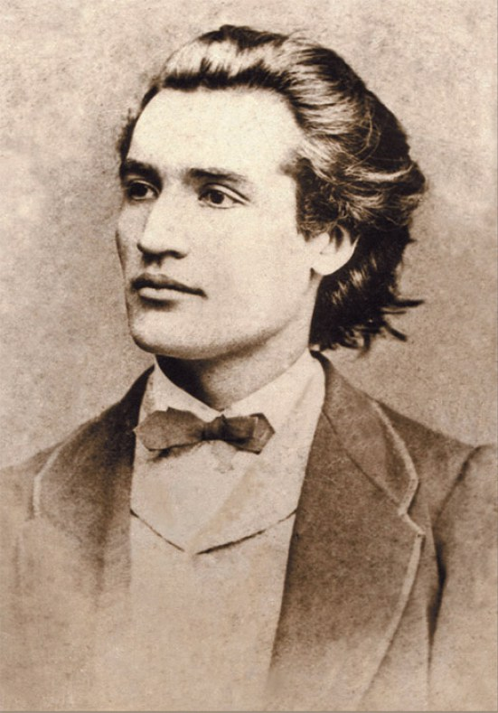 """Mihai Eminescu la 19 ani, în 1869, prima fotografie, cân """"băiet fiind, păduri cutreieram"""""""