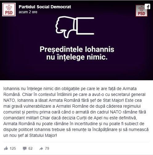 PSD îl atacă pe Klaus Iohannis, în scandalul Armatei Române: Nu înțelege nimic!