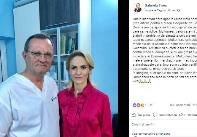 Postarea de pe pagina de Facebook a Gabrielei Firea