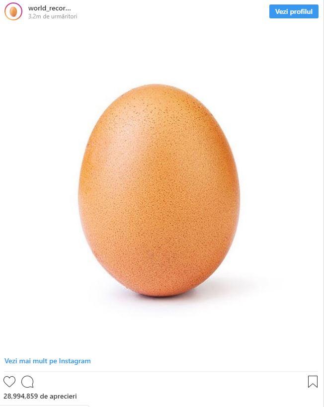Motivul pentru care această imagine cu un banal ou a ajuns cea mai vizualizată poză din istorie pe Instagram. A primit peste 28.000.000 de likeuri