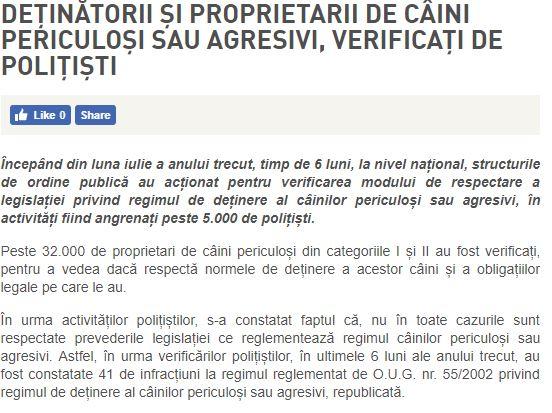Captură de pe site-ul Poliţiei Române