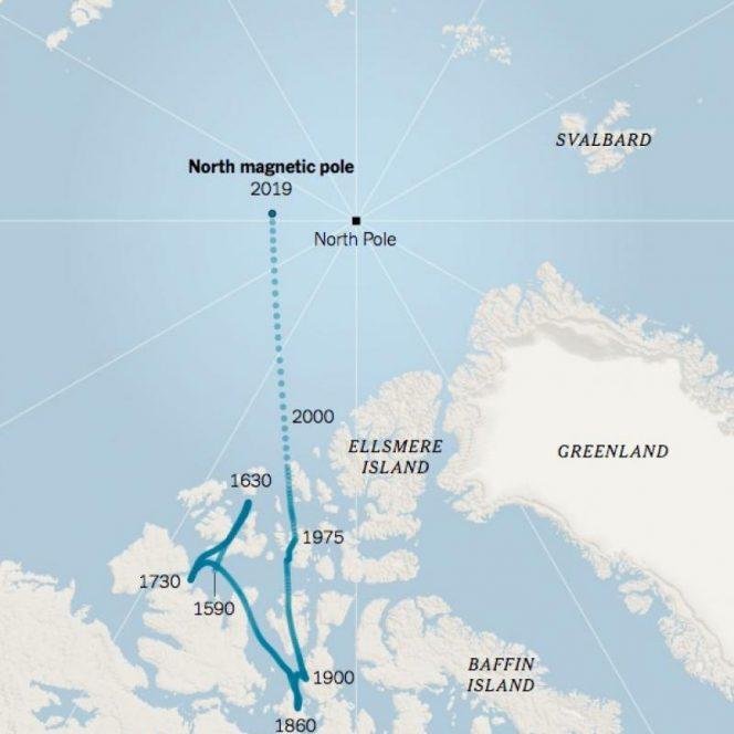 Harta deplasării estimative a Polului Nord magnetic, în ultimele sute de ani
