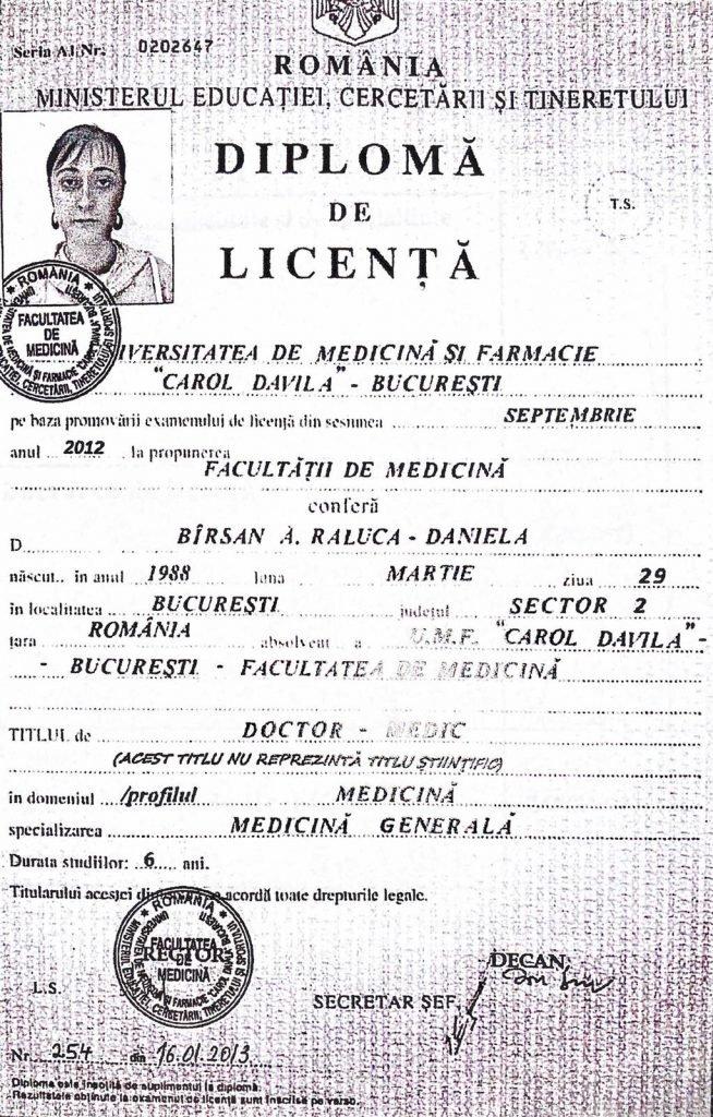 Diploma falsă a Ralucăi Bîrsan