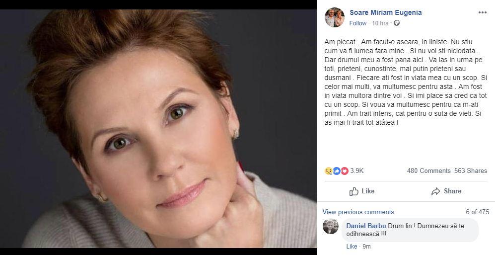 Jurnalista Miriam Eugenia Soare a murit, joi seara