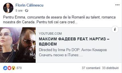 Mesajul postat de Florin Călinescu