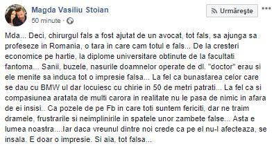 Mesajul postat de Magda Vasiliu