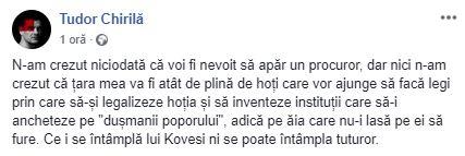 Mesajul postat de Tudor Chirilă pe Facebook