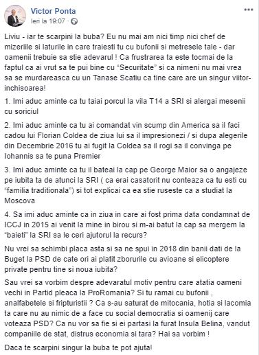 Mesajul postat pe Facebook de Victor Ponta