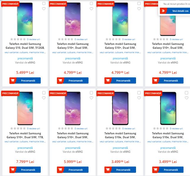Prețuri Samusng Galaxy S10 la eMag