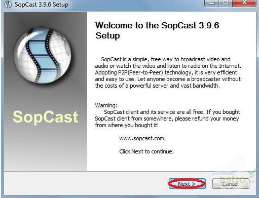 SopCast este foarte ușor de instalat