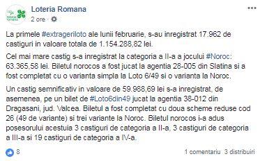 Sursă foto. Facebook Loteria Română