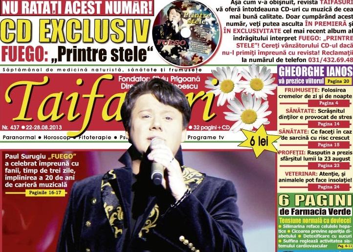 Fuego va scrie săptămânal un editorial în revista Taifasuri despre evenimentele frumoase din viața sa, momentele care l-au marcat de-a lungul timpului, despre artă, pictură și despre frumusețile României