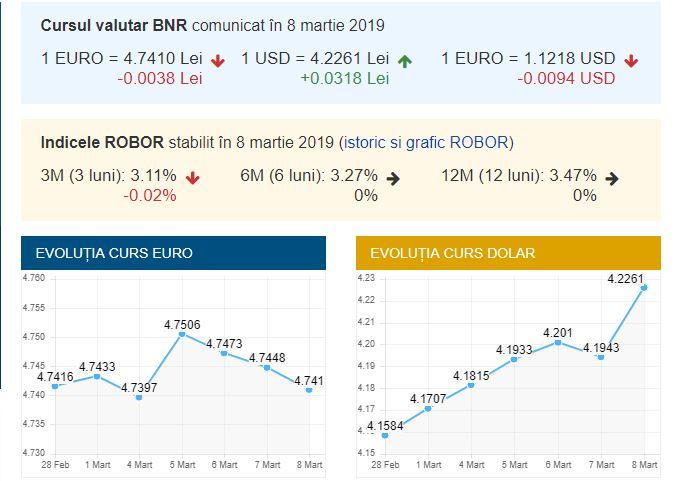 Curs valutar BNR azi, 8 martie 2019. Valoarea monedei europene a suferit modificări!