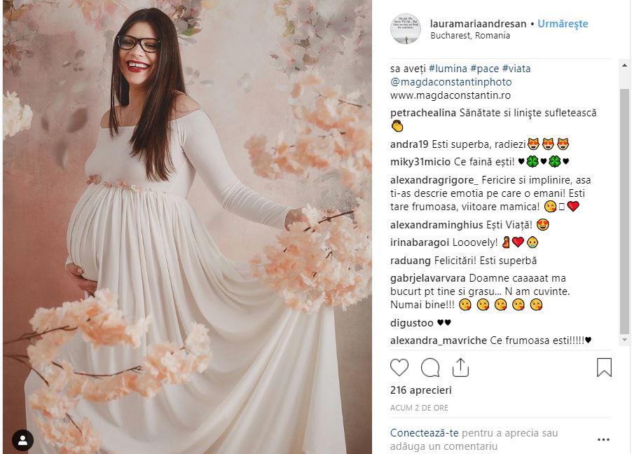 Postarea Laurei Andreșan pe Instagram