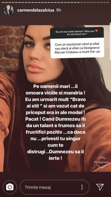 Mesajul postat de Carmen de la Sălciua, în legătură cu moartea lui Răzvan Ciobanu